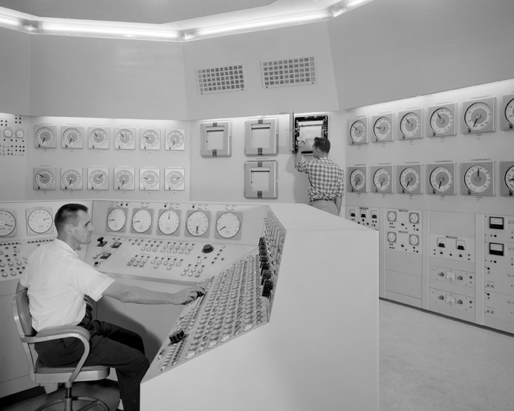 Space History Photo: Bill Fecych and Don Johnson in control room in 1959