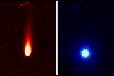 These images from NASA's Spitzer Space Telescope of Comet ISON were taken on June 13, 2013, when ISON was 312 million miles (502 million kilometers) from the sun. The lefthand image shows a tail of fine rocky dust issuing from the comet, blown back by the pressure of sunlight. The image at right shows a neutral gas atmosphere surrounding ISON, likely created by carbon dioxide fizzing off the comet at a rate of 2.2 million pounds per day.