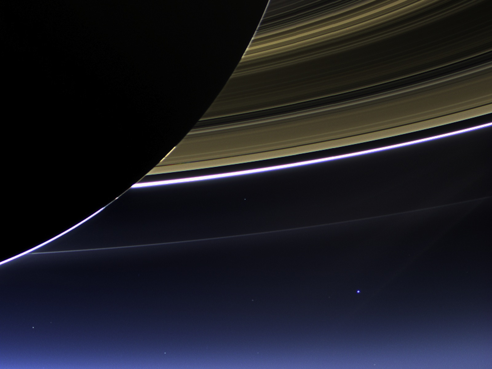Cassini Captures Saturn's Rings, Earth and Moon space wallpaper