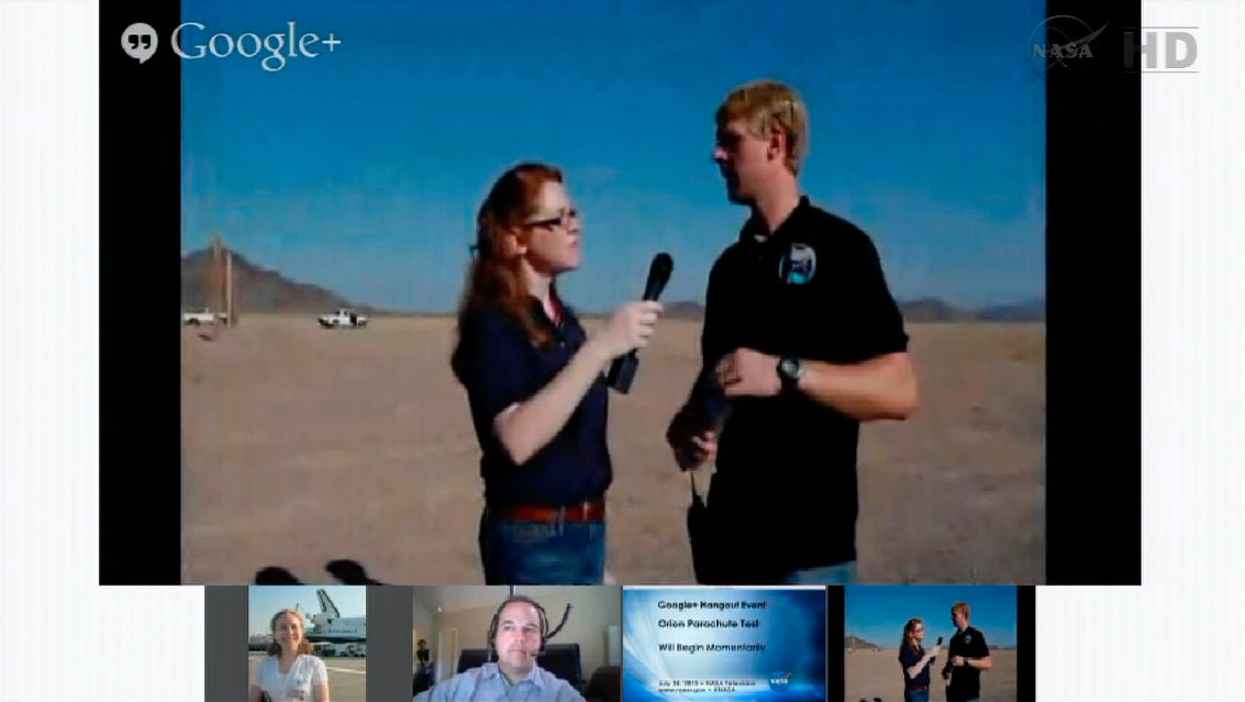 Orion Capsule Drop Test Google+ Hangout