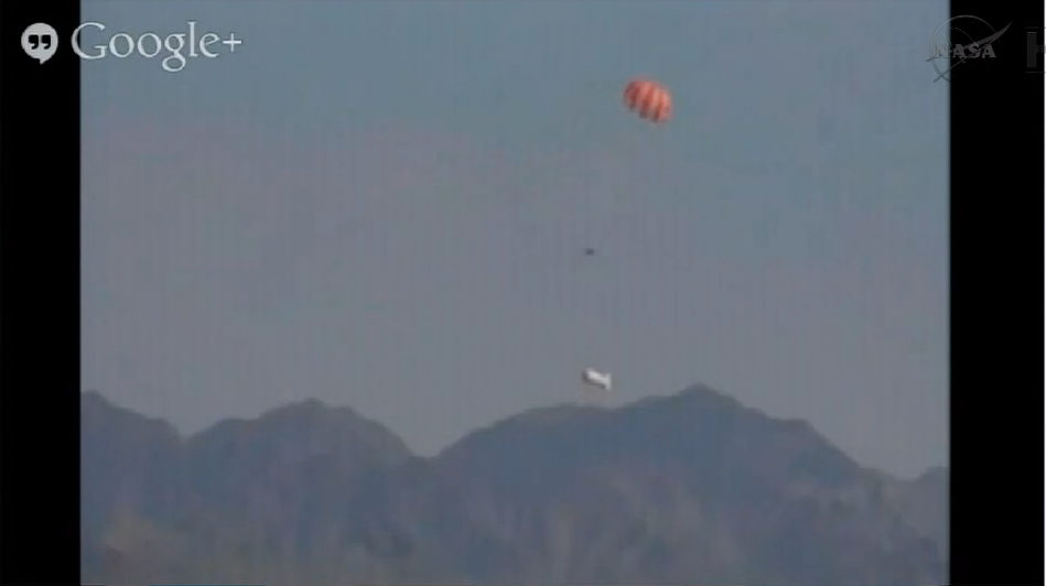 Orion Capsule Approaching Ground