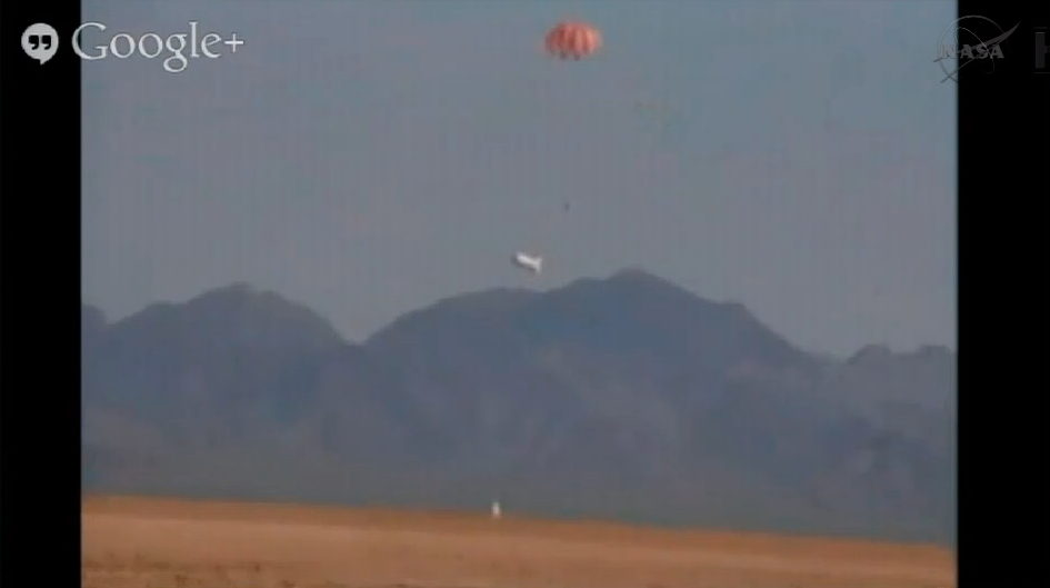 Orion Test Capsule About to Touch Down