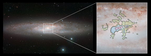 This comparison picture of the nearby bright spiral galaxy NGC 253, also known as the Sculptor Galaxy, shows the infrared view from ESO's VISTA Telescope (left) and a detailed new view of the cool gas outflows at millimeter wavelengths from ALMA (right). Image released July 24, 2013.