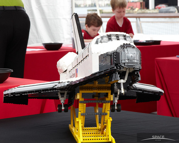 A LEGO replica of the space shuttle Enterprise, which was unveiled on July 26, 2013, at the Intrepid Museum's SpaceFest.