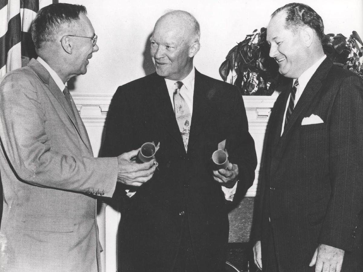 President Eisenhower Presents NASA Commissions