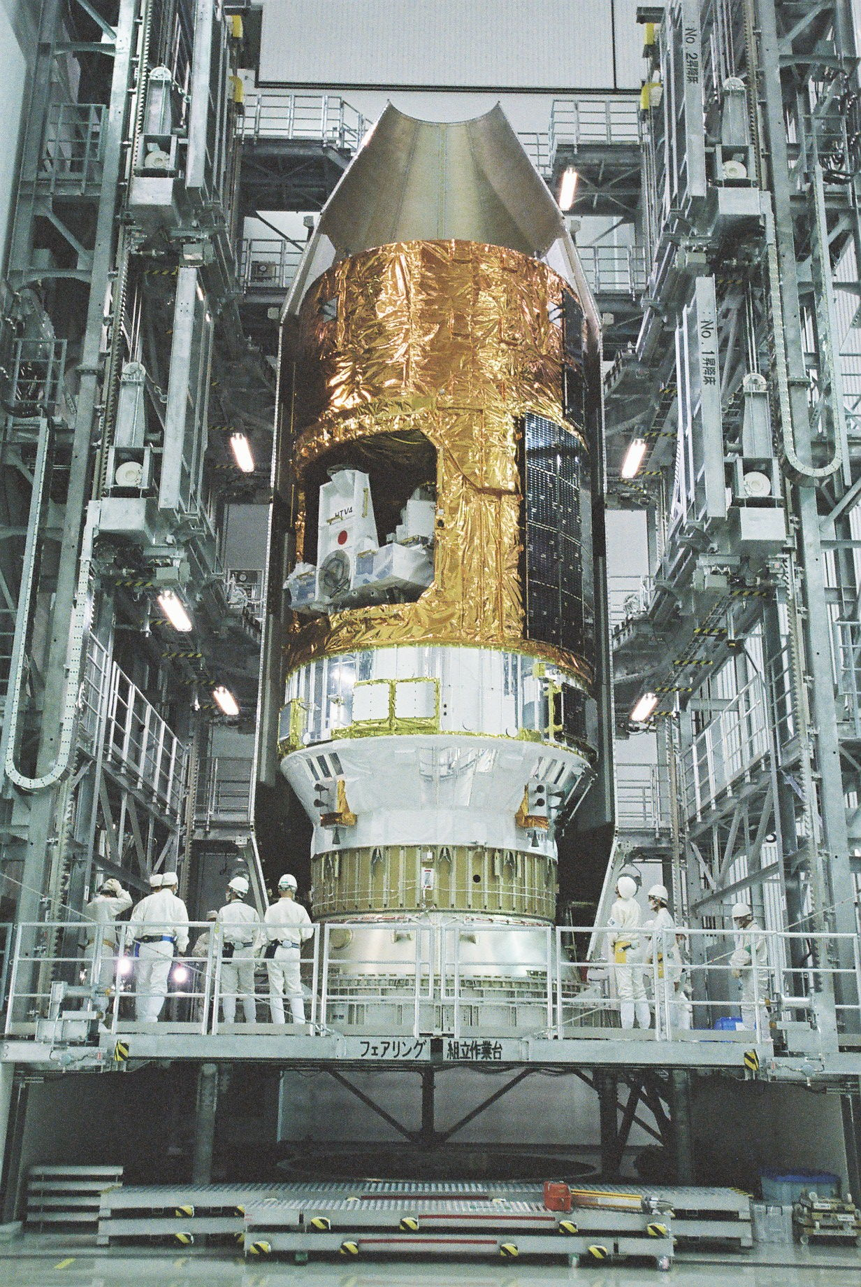 Workers on Ramp by HTV No4 Payload Fairing Encapsulation