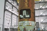 HTV No4 is moved into place for payload fairing encapsulation on July 11, 2013.