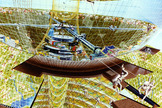 An artist's depiction of a construction crew at work on the Bernal Spheres colony from space colony summer studies conducted at NASA Ames in the 1970s.