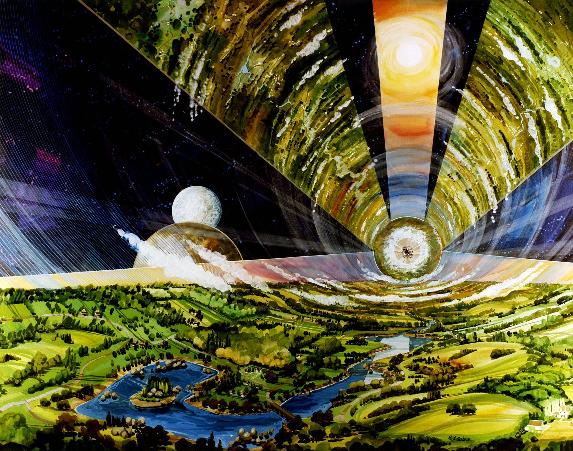 Cylindrical Colonies Interior View Art