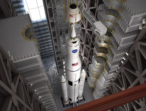 An artist concept of NASA's giant Space Launch System rocket and Orion spacecraft being stacked in the Vehicle Assembly Building at the Kennedy Space Center in Florida. Image released Aug. 1, 2013.