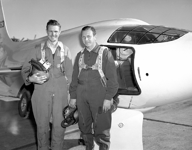 Space History Photo: X-1-2 with Pilots Robert Champine, Herb Hoover