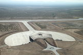 The Tomorrowland-looking Virgin Galactic Gateway to Space, a combined terminal and hangar facility, is part of the expansive Spaceport America site.