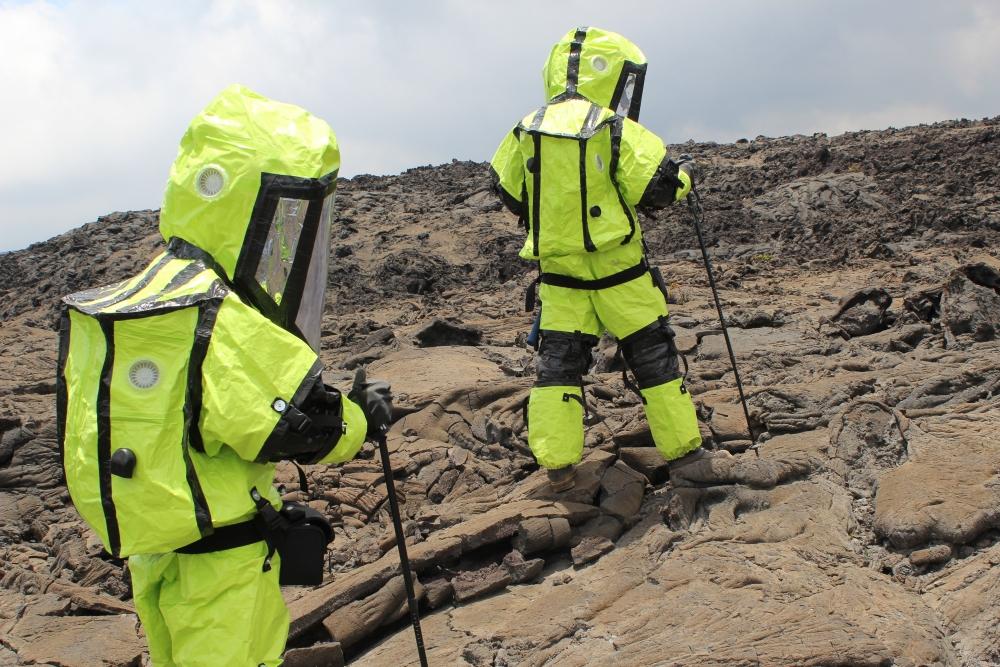 Traversing a Lava Field on EVA