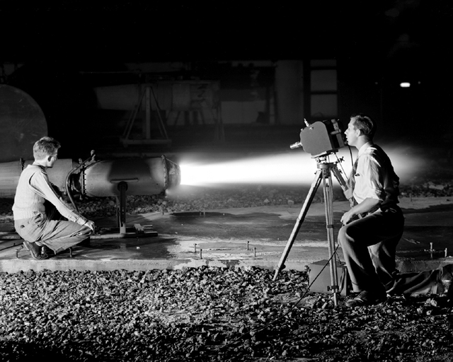 Space History Photo: Ramjet I-40 Engine in Jet Static Lab