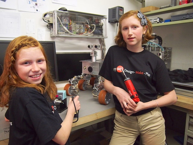 Camille and Genevieve Beatty in the Beatty Robotics Lab