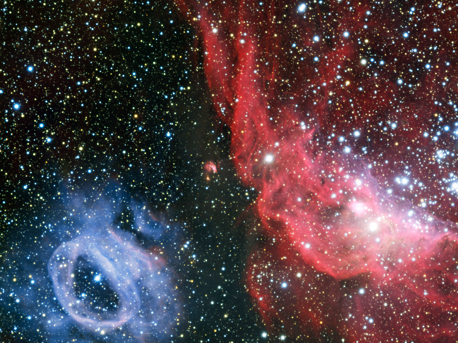 NGC 2014 and NGC 2020 Gas Clouds in Large Magellanic Cloud space wallpaper