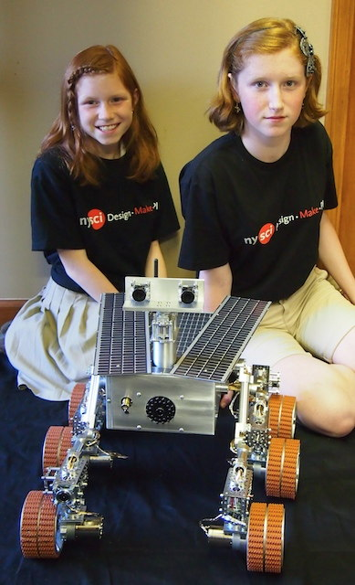 Camille and Genevieve Beatty With Their Mars Rover