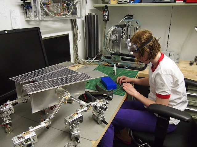 Camille Beatty Works on the Mars Rover Solar Panels