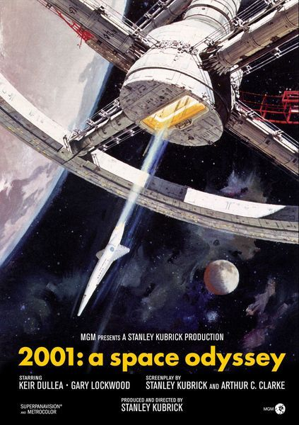 The first release movie poster for this Stanley Kubrick film featured a space shuttle departing a rotating space station.