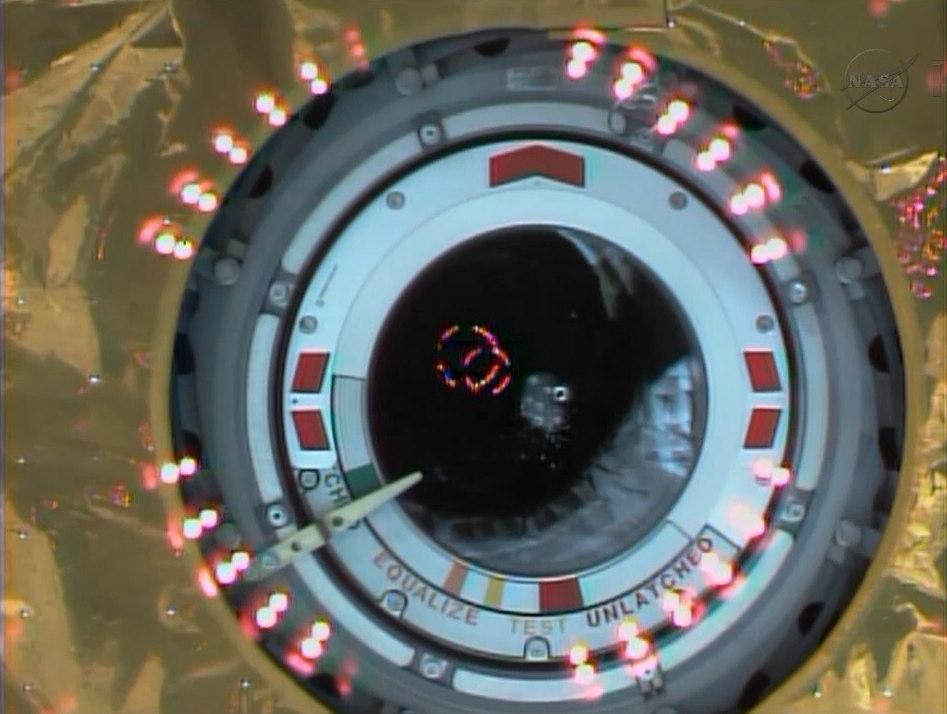 Berthing Lights Shine During HTV-4 Docking