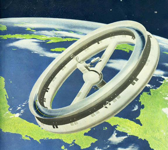 Artist Chesley Bonestell's depiction of a rotating station in Earth orbit appeared in Colliers Magazine in the Spring of 1952. Note the astronauts on EVA in the foreground; establishing the size of the structure.