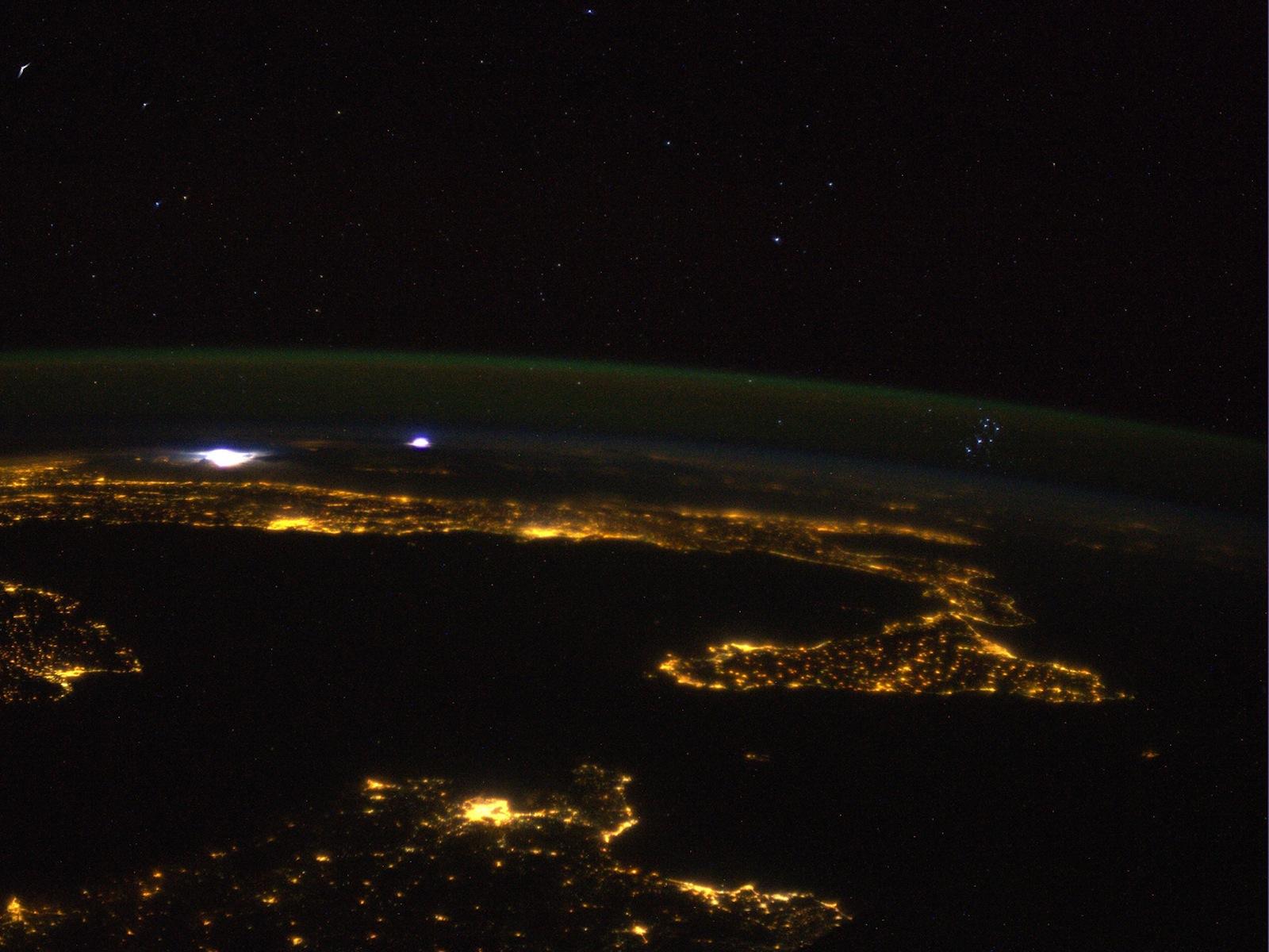 Mediterranean Pleiades Storm Parmitano ISS space wallpaper