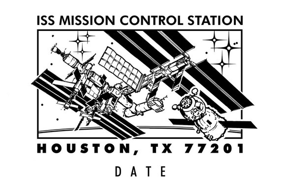 "The ""ISS Soyuz Houston Postmark"" now available from the U.S. Postal Service in Houston depicts the Russian piloted spacecraft arriving at the International Space Station."