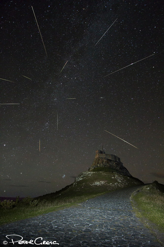 2013 Perseid Meteors Falling Over Holy Island, Northumberland, UK