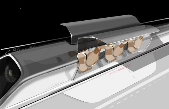Hyperloop passenger capsule version with doors open at the station.