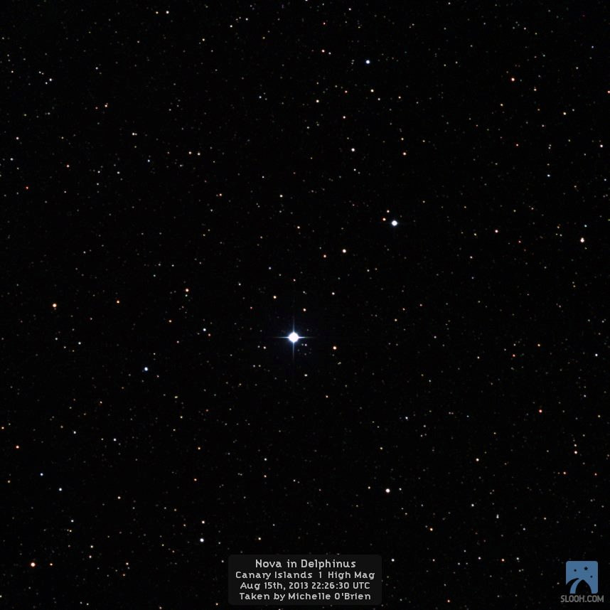 Nova Delphinus 2013 Imaged in the Canary Islands