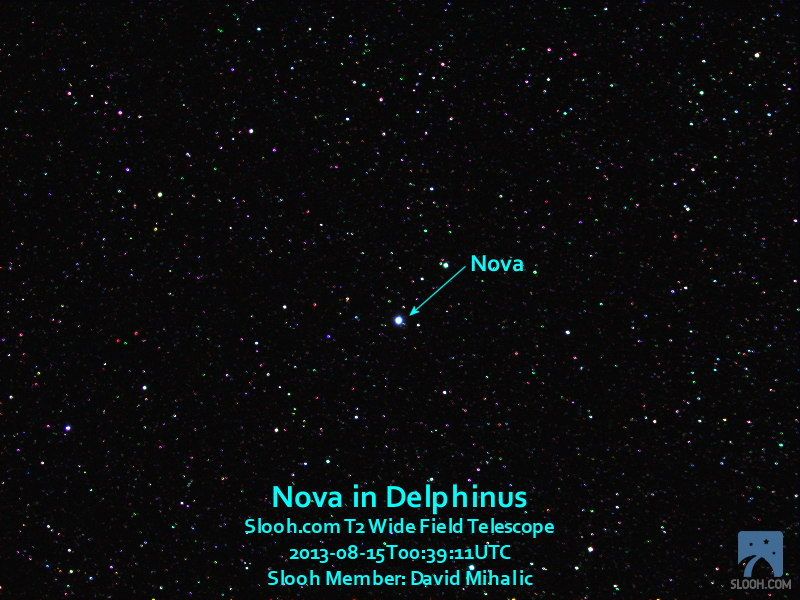 Nova Delphinus 2013 Seen with Slooh T2 Wide Field Telescope