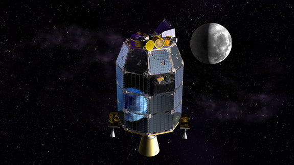 This is an artist's depiction of NASA's Lunar Atmosphere and Dust Environment Explorer (LADEE) observatory in space with the moon in the distance. Image released July 23, 2013.