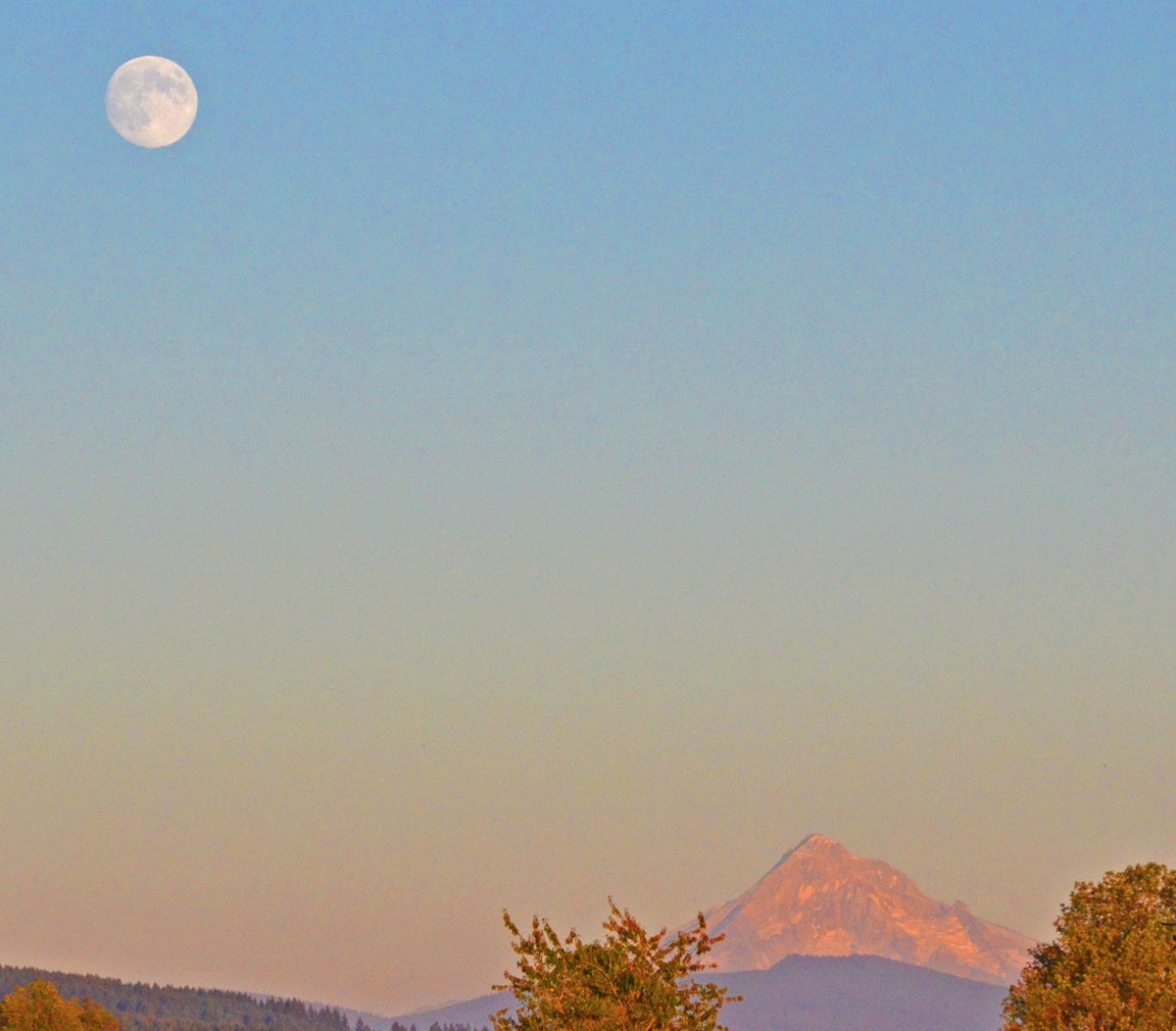 August 2013 Moon Seen With Mt. Hood, Washington