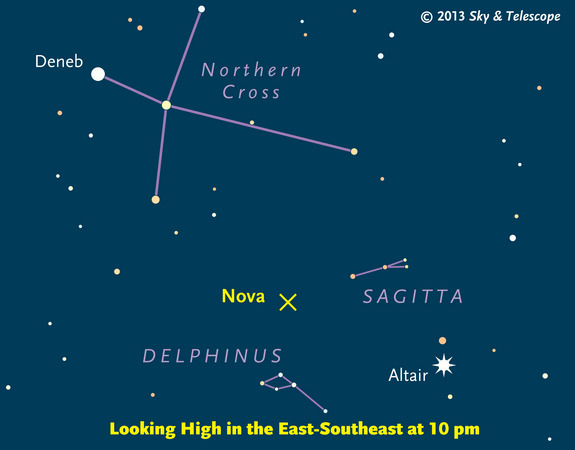 Sky & Telescope sky chart showing the location of the newly discovered nova in the constellation Delphinus discovered in August 2013.