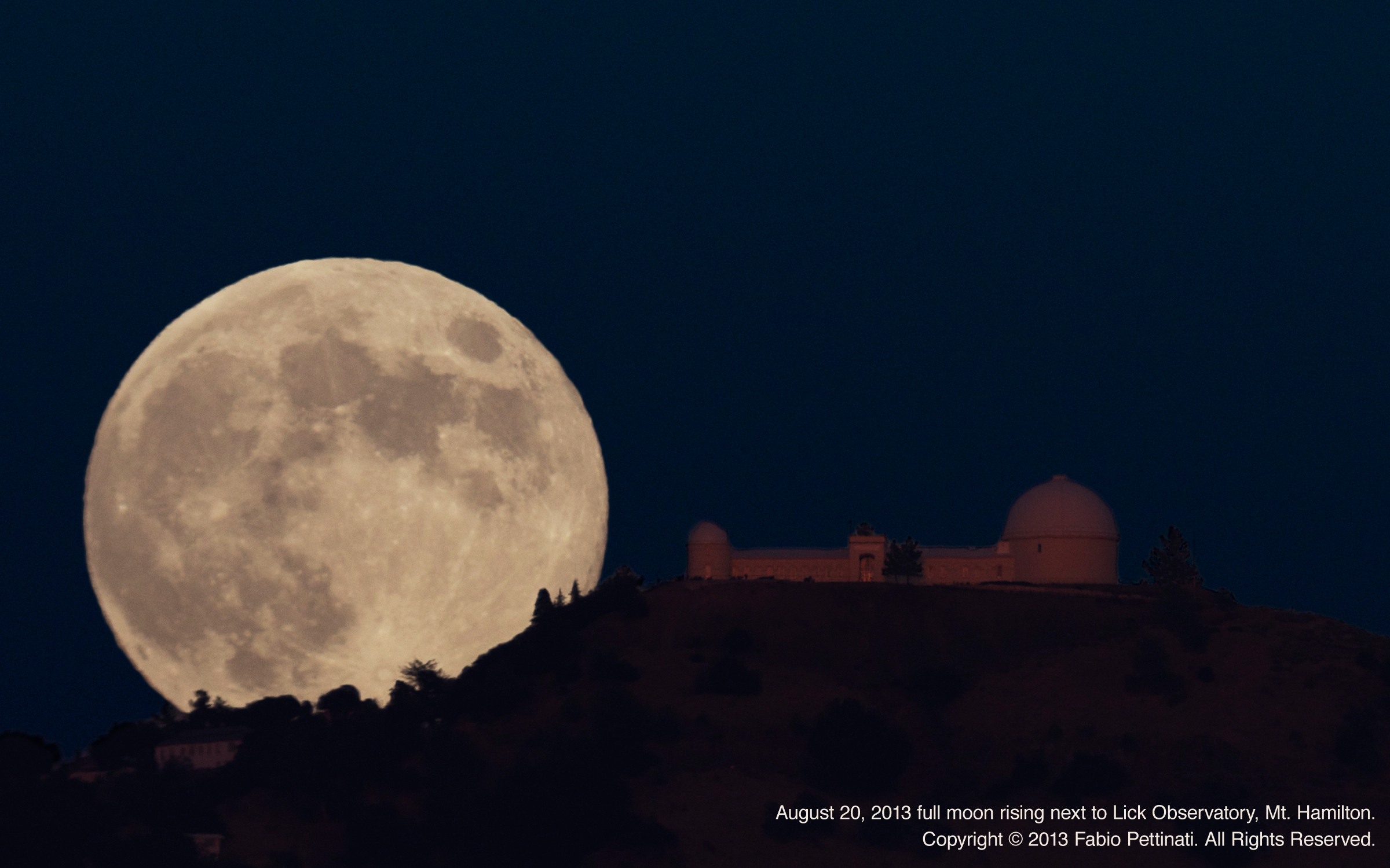 Moon Rises Next to Lick Observatory, Mt. Hamilton