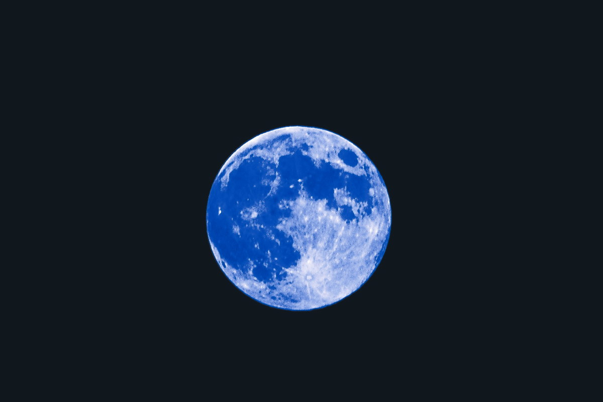 Blue Moon of August 2013 With Blue Filter