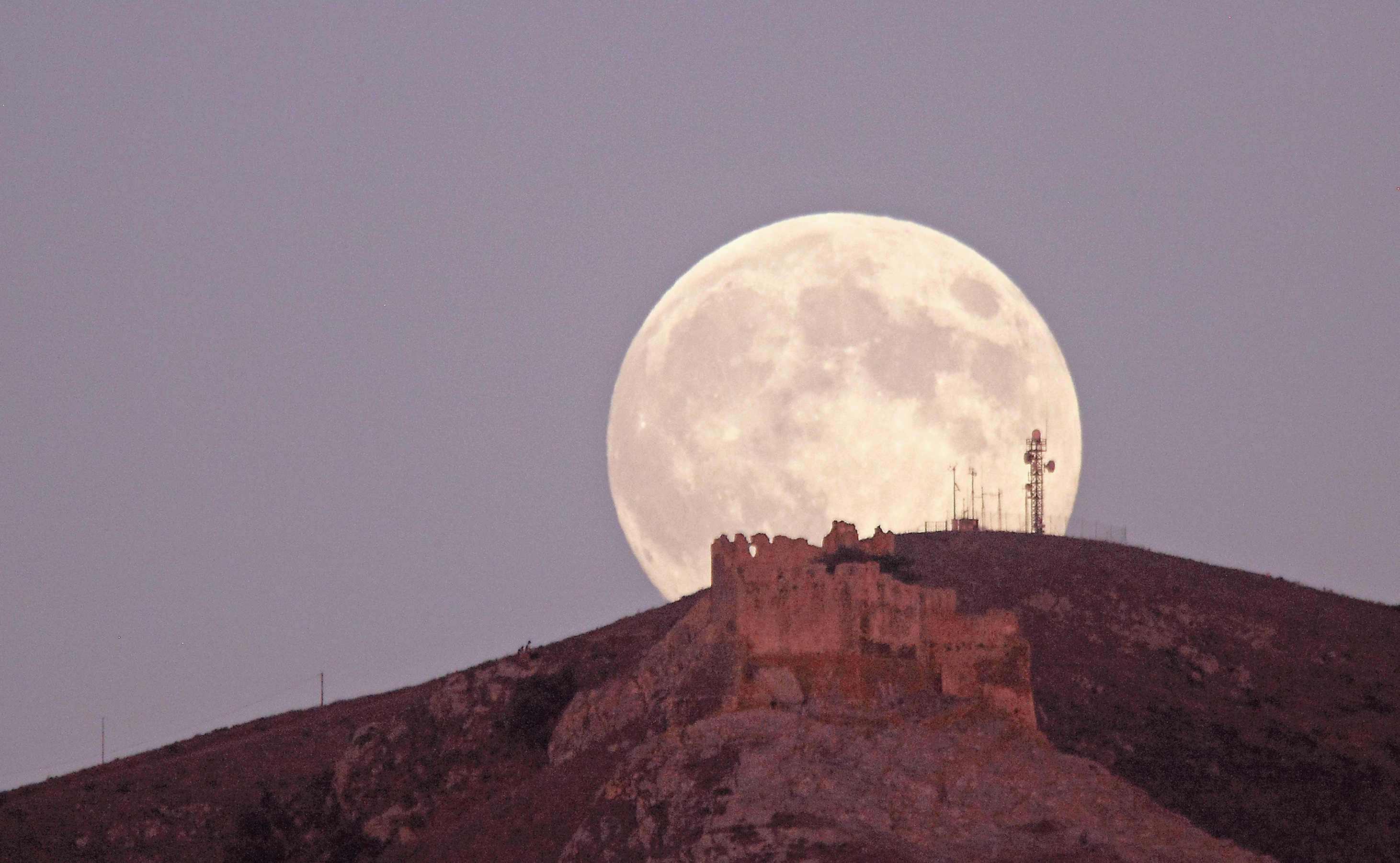 'Blue Moon' Looms Over Volterraio Castle