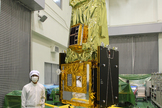 The Japanese SPRINT-A satellite is readied ahead of its planned Aug. 27, 2013 launch onboard Japan's new Epsilon rocket.