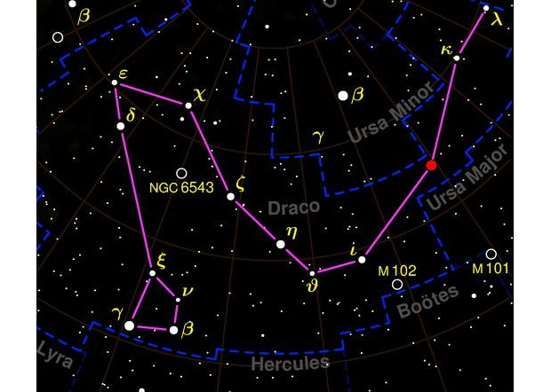 Draco Constellation Sky Map