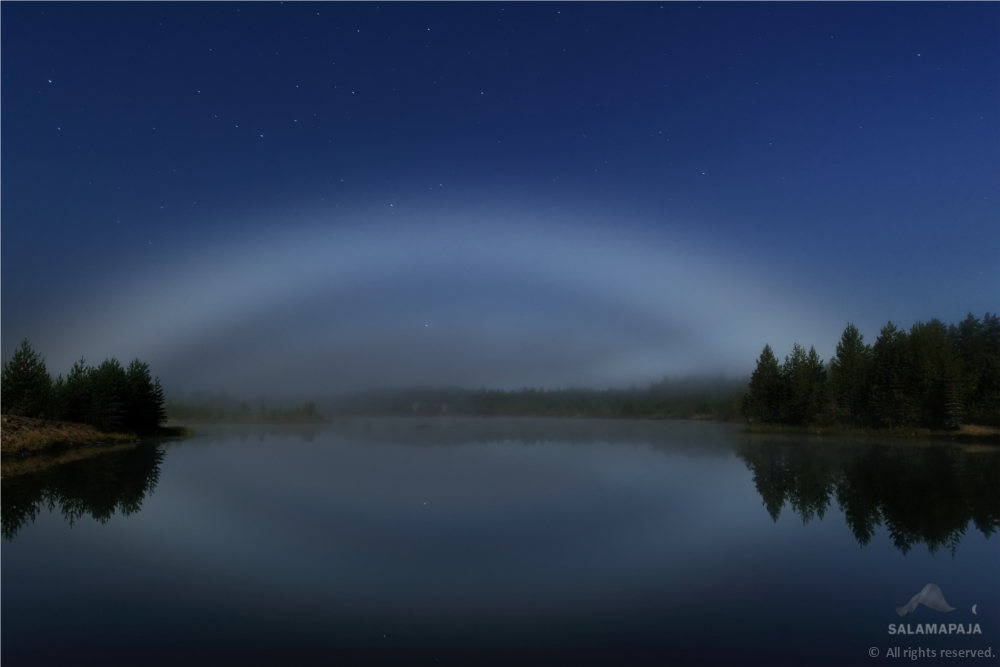 Ghostly Moon 'Fog Bow' Glows Over Finland Lake (Photo)