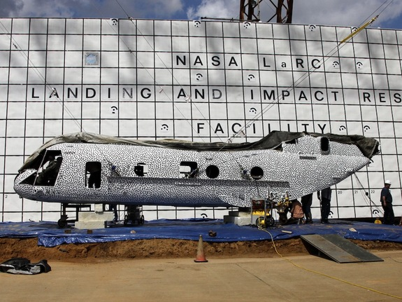 NASA's Langley Research Center engineers are scheduled to crash test a former Marine helicopter at the historic Landing and Impact Research facility. The fuselage is painted in black polka dots as part of a high speed photographic technique.