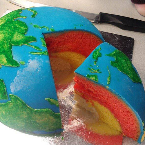 Earth Cake Cut Open