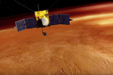 This artist's conception shows the NASA's MAVEN spacecraft orbiting Mars. The mission will launch in late 2013.