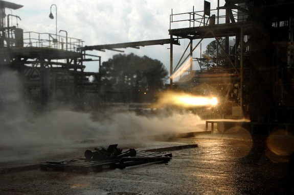 Researchers created a rocket engine injector using 3D printing. It blazed to life during a hot-fire test on Aug. 22, 2013, at NASA's Marshall Space Flight Center (MSFC) in Huntsville Ala.