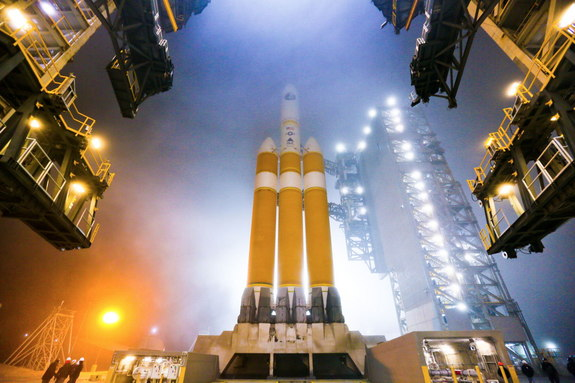 The Mobile Service Tower (MST) is rolled back at Space Launch Complex-6 in preparation for launch of a United Launch Alliance Delta IV Heavy rocket carrying the NROL-65 mission for the National Reconnaissance Office.