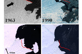 These panels show satellite imagery of Vanderford Glacier, Wilkes Land, East Antarctica.