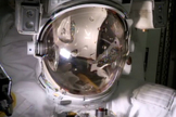 Water fills the empty spacesuit helmet of Italian astronaut Luca Parmitano in an Aug. 27, 2013 test of the faulty spacewalking gear, which forced NASA to abort a July 16 spacewalk for safety reasons. The water leak confirmation will help NASA engineers devise repair methods for the spacesuit.