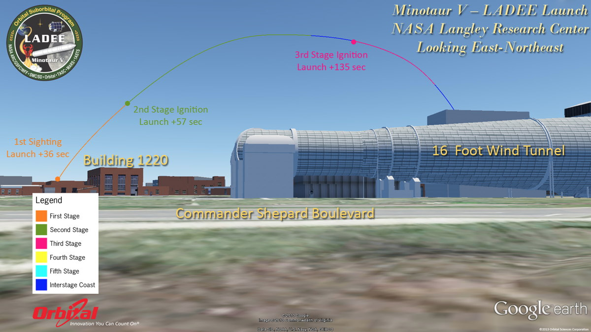 Potential View of LADEE Launch from NASA Langley Research Center