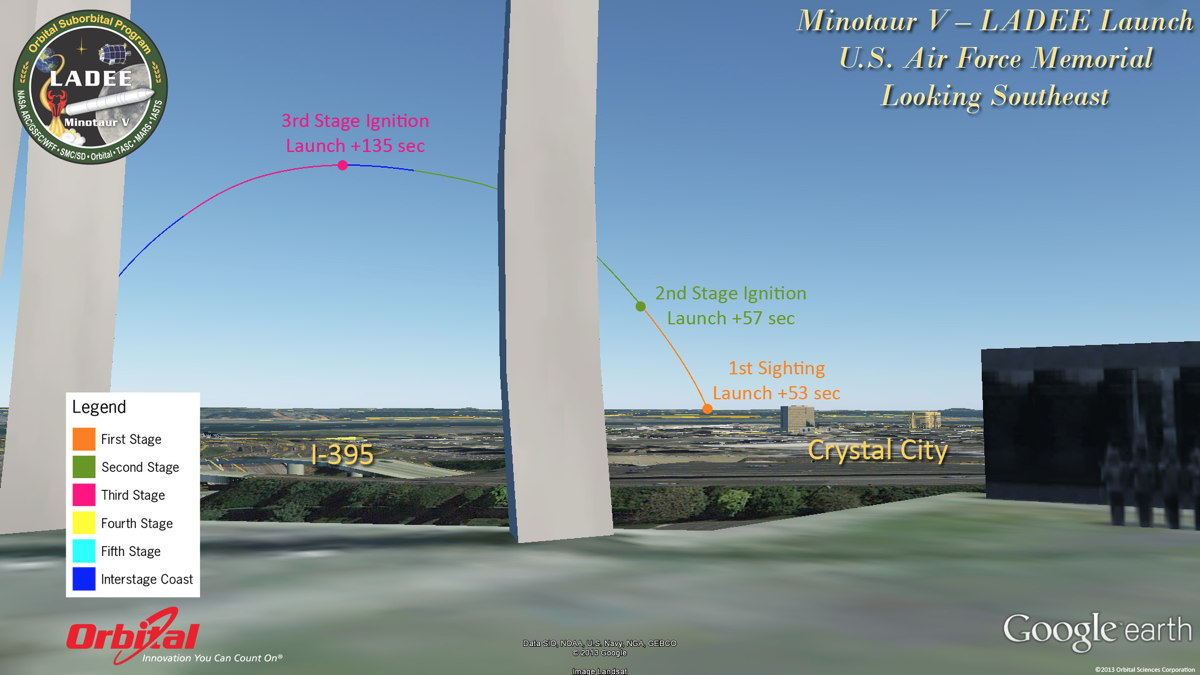 Potential View of LADEE Launch from Air Force Memorial