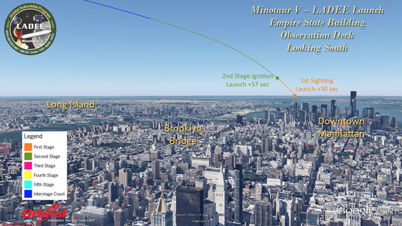 The potential view (weather permitting) from the top of the Empire State Building in New York City on launch night. Launch is not over populated areas.